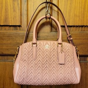 COACH QUILTED MINI SAGE CARRYALL F73063 PINK PETAL QUILTED LEATHER
